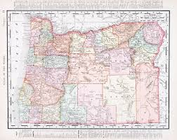vintage map of the state of oregon united states 1900 stock