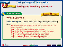 chapter 2 taking charge of your health lesson 2 setting and