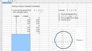 4 Quadrant Graphing Worksheets Simple Math Plotting A Circle In Cartesian Coordinates