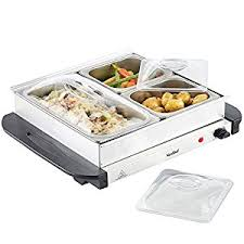 vonshef 3 tray food warmer buffet server 3 large pans keep food