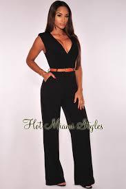 belted jumpsuit faux wrap belted jumpsuit