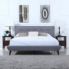 Full Platform Bed With Headboard Amazon Com Mid Century Grey Linen Low Profile Platform Bed Frame