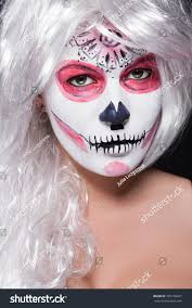 Halloween White Face Makeup by Halloween Makeup Women Image On Her Stock Photo 325188287