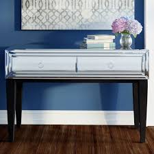 wood and mirrored console table mirrored console table silver dark brown 2 drawers wooden living