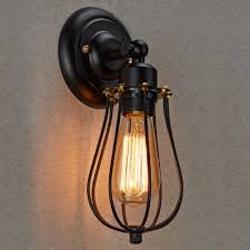 amazon wall lights indoor ecopower vintage style industrial black mini wire cage wall sconce