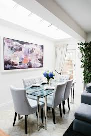 Dining Room Glass Tables Dining Room With Glass Table And Abstract Wall Art Cleaning Ways