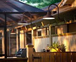 Outdoor Gooseneck Lights by Lighting With Warehouse Shades A Perfect Fit For Patio Area