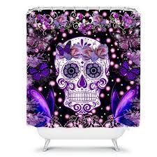 shower curtain sugar skull butterflies flowers roses purples miss
