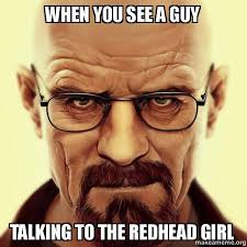 Redhead Meme - when you see a guy talking to the redhead girl walter white
