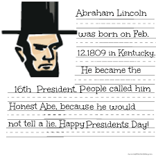 free president lincoln u0026 washington coloring sheet u0026 handwriting