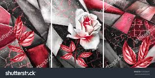 hand drawn oil painting triptych flower stock illustration