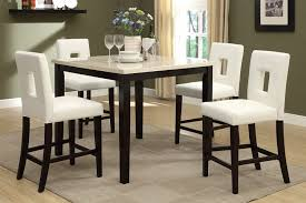 cream faux marble top 5 piece counter height dining table set