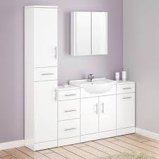 Alaska Bathroom Furniture Pack  Piece White Gloss At Victorian - Bathroom cabinets in white gloss