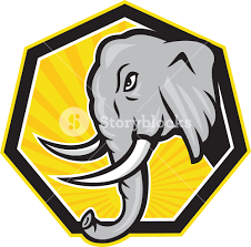 angry elephant head side cartoon royalty free stock image