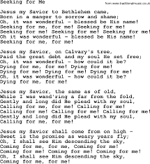 Seeking Song Baptist Hymnal Christian Song Seeking For Me Lyrics With Pdf