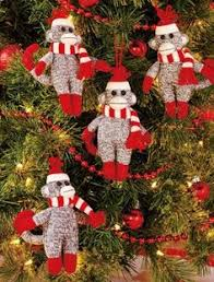 sock monkey ornament yarn ornaments