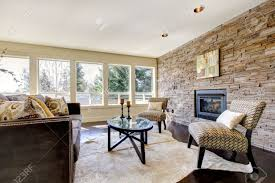 Stone Wall Living Room by Beautiful Modern Large Bright Living Room With Dark Floor And