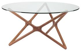 Table Glass Top Centauri Modern Glass Top Wood Mid Century Dining Table 40d