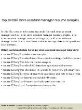 Retail Assistant Manager Resume Sample by Top 8 Software Quality Assurance Manager Resume Samples