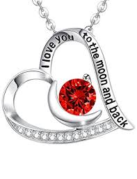 silver necklace ruby images Ruby necklace july birthstone jewelry heart and moon jpg