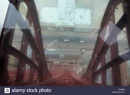 looking down blackpool tower from the glass floored skywalk stock