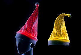 2016 led lighting fiber optic luminous santa claus hats
