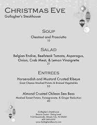 gallagher u0027s steak house christmas eve menu resorts atlantic