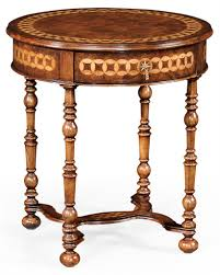 walnut round side table with drawer 05
