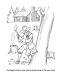 pilgrim thanksgiving coloring page sheets pilgrims clearing the