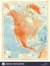 Physical Map Of North America by North America Physical Relief Key Mountains Heights Ocean