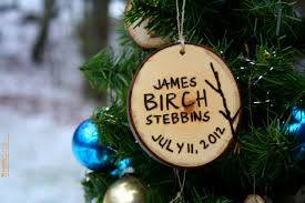 1st personalized tree ornament hanging branch