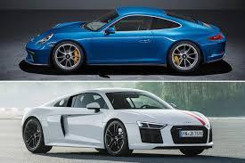 porsche audi auto showdown audi r8 v10 rws vs porsche 911 gt3 touring motor