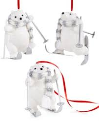 set of 3 skiing polar bears ornaments