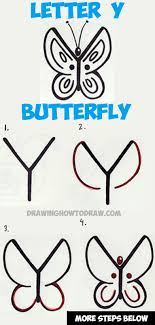how to draw a butterfly from the letter y easy by