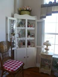 Shabby Chic Corner Cabinet by White Curio Corner Cabinet Foter