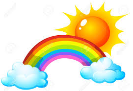 illustration of a sun and a rainbow royalty free cliparts vectors