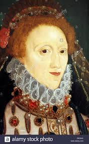 detail from a portrait of queen elizabeth ist of england by an