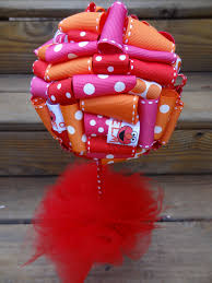 sesame ribbon ribbon topiary in elmo pink orange sesame party
