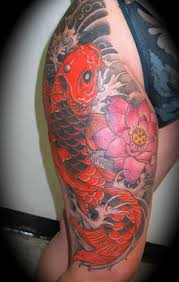 amazing art of thigh japanese tattoo ideas with koi fish tattoo