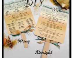 diy fan wedding programs kits paddle fan sticks etsy