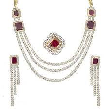 bridal necklace set images American diamond cz zircon jewelry set indian swam jpg