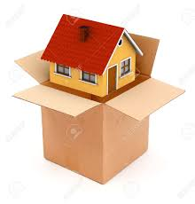 packing or unpacking a small house in cardboard box conceptual