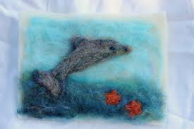 121017 rebecca u0027s needle felt leaping dolphin picture with blended