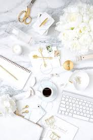 Marble Desk Accessories White And Gold On Marble Styled Desktop Styled Stock Photography