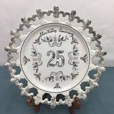 25th silver wedding anniversary floral flowers gift plate dish