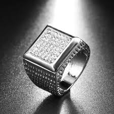 rings with crystal images Buy luxury 2017 fashion white crystal rings mens jpg