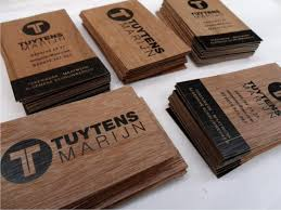 business cards printed on different woodsorts microwood