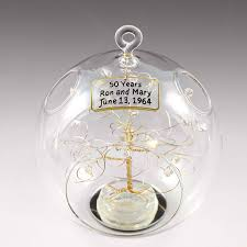 50th anniversary ornaments 50th anniversary gift personalized ornament gold with clear