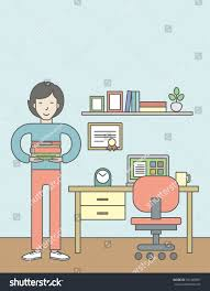 asian pupil books room equipped working stock vector 331469891