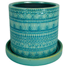 8 Pots by 8 In Dia Blue Ceramic Seven Seas Cylinder Pot Cr10851 08a The